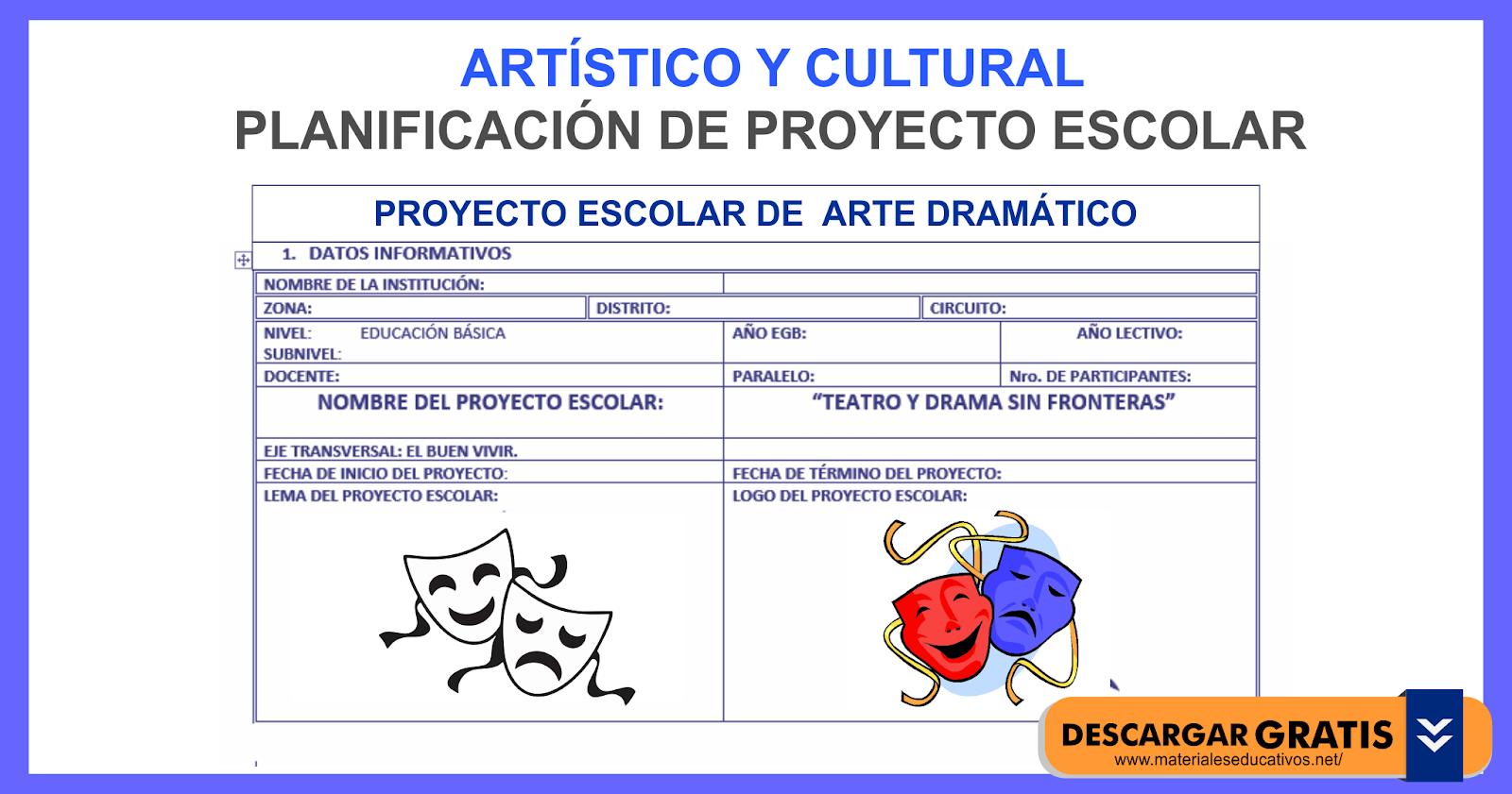 Proyecto Escolar De Arte Dram Tico I Material Educativo