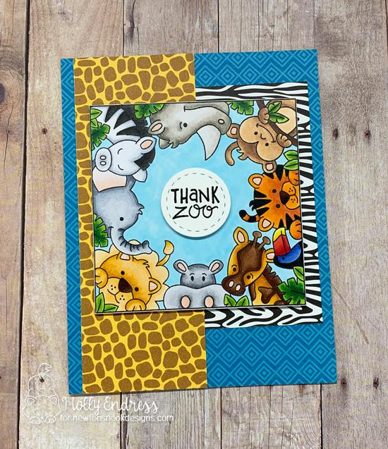 Thank Zoo card by Holly Endress | Zoo Party Stamp Set and Frames Squared Die Set by Newton's Nook Designs #newtonsnook #handmade