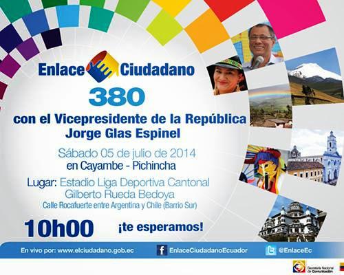 Cadena Sabatina de Rafael Correa 380 desde Cayambe