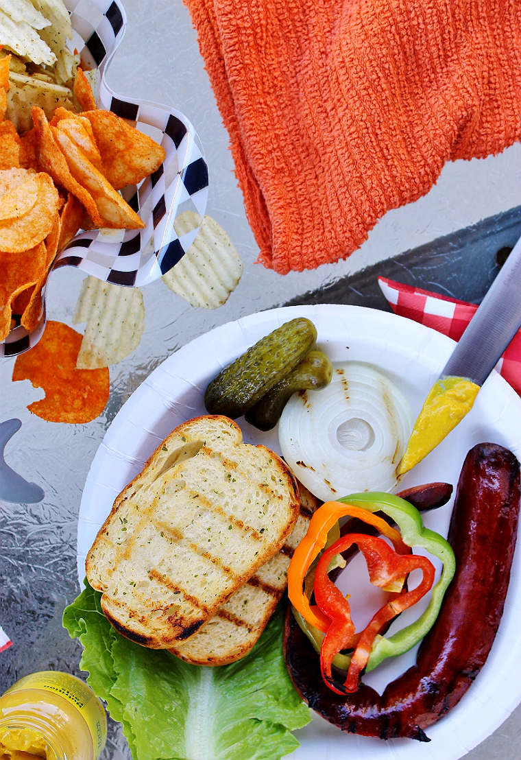 Grill Texas Toast directly on your BBQ for the perfect 'buns' to any Summer BBQ Sandwich, including this Polish Sausage Sandwich! Amazing Summer BBQ Ideas On A Budget #DoThe99 #99Obsessed #AD