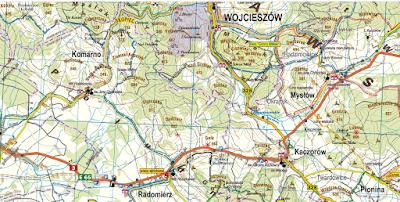 Przebieg szlaku niebieskiego z Radomierza na Skopiec na mapie Planu z 2018 roku
