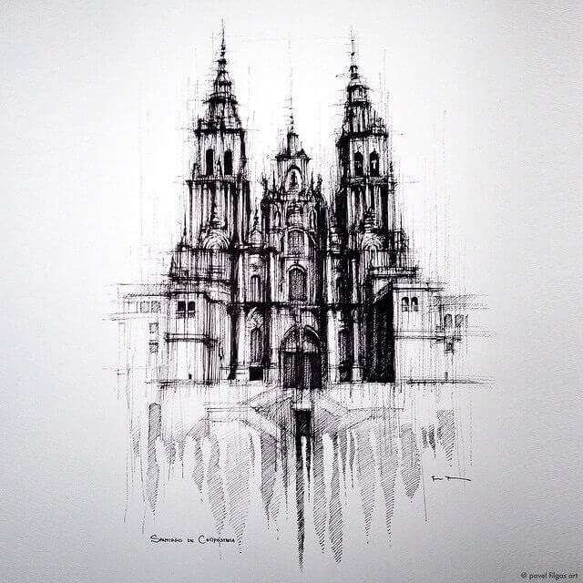08-Spanish-City-Of-Santiago-De-Compostela-Pavel-Filgas-Urban-Drawings-Architecture-on-our-Streets-www-designstack-co