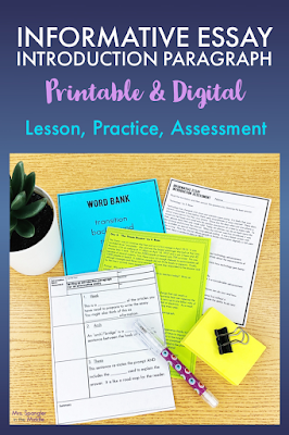 Make the tricky concept of writing informative introduction paragraphs easier for your middle school students with these notes, 3 practice activities and an assessment!  It's the perfect recipe for success!