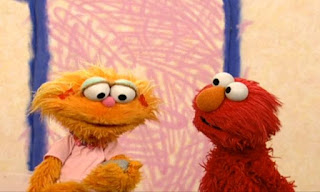 Elmo thinks it's silly to talk with Rocco because it's just a rock! Zoe tells him that you can have all kinds of friends including rocks. Sesame Street Elmo's World Friends Interview