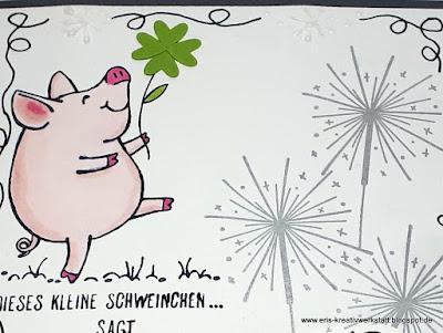 """Grußkarte zum neuen Jahr, Guter Rutsch, mit den """"Glücksschweinchen"""" und Wunderkerzen Stampin' Up! www.eris-kreativwerkstatt.blogspot.de"""