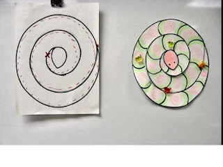 Elementary child drawing of a swirl snake