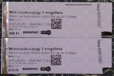 BKK Budapest, bilet 3-przystankowy