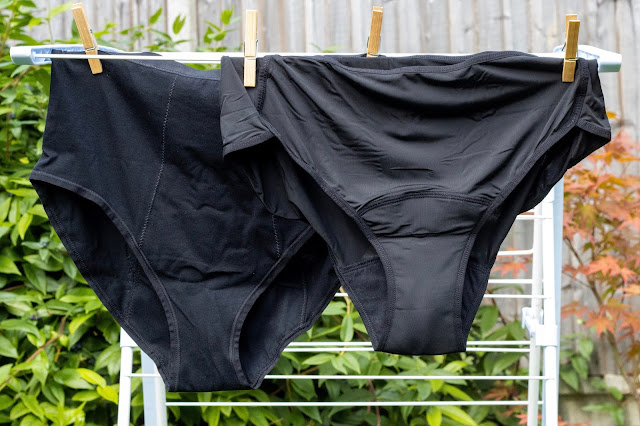 Love Luna period pants hanging out to dry in a classic cotton larger style and a nylon midi style