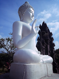 White Buddha Statue In Front Of The Main Yard Brahmavihara Arama Monastery North Bali