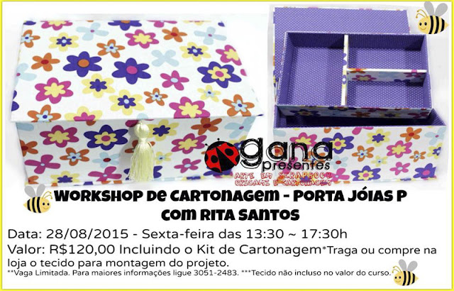 Workshop de cartonagem: porta-jóias