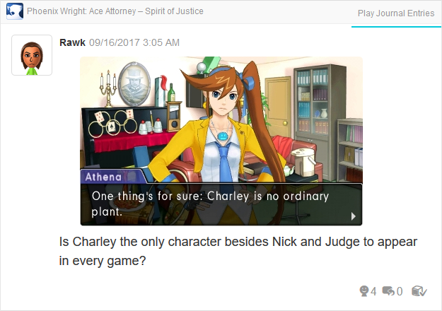 Phoenix Wright Ace Attorney Spirit of Justice Charley no ordinary plant