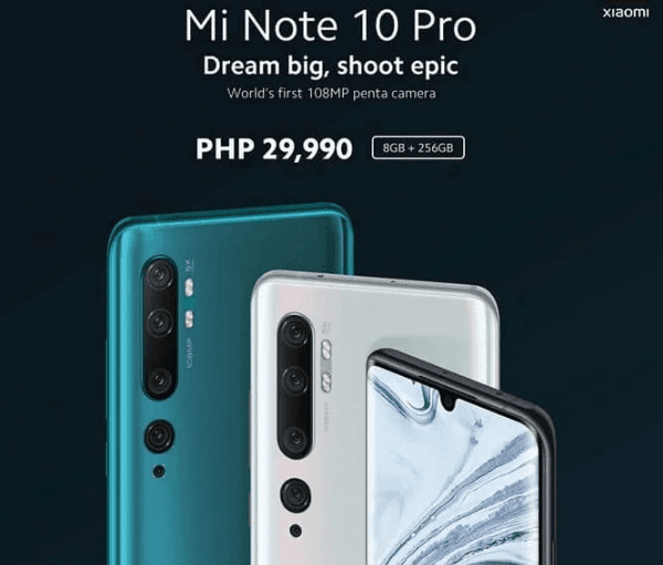Xiaomi Mi Note 10 Pro now available in the Philippines, priced at PHP 29,990