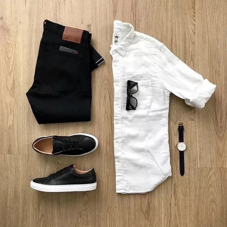 White with black White shirts Matching pants colours