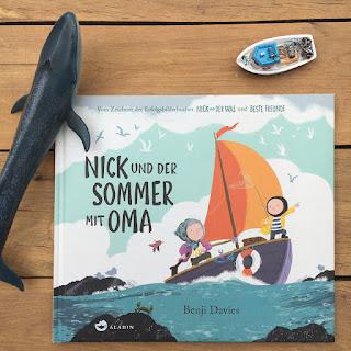 """""""Nick und der Sommer mit Oma"""" von Benji Davies, erschienen im Aladin Verlag, Bilderbuch ab 3 Jahren, Rezension von Kinderbuchblog Familienbücherei"""