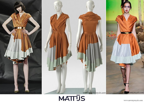 Queen Maxima wore Mattijs van Bergen Silk Pleated Dress