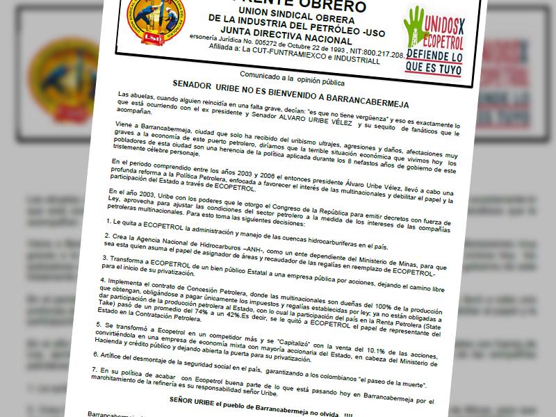 Senador Uribe no es bienvenido a Barrancabermeja