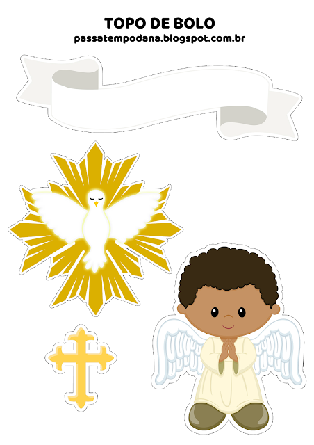 Niño Afro: Toppers para Pasteles o Tartas de Primera Comunión para Imprimir Gratis.