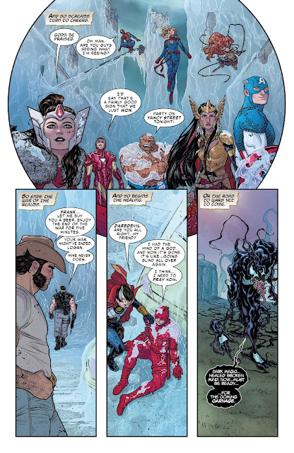 Every superhero celebrates their victory in War of the Realms Issue #6.