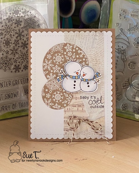 Baby it's cold outside by Sue T. features Frozen Friends and Snowfall Roundabout by Newton's Nook Designs; #newtonsnook, #winter, #cardmaking