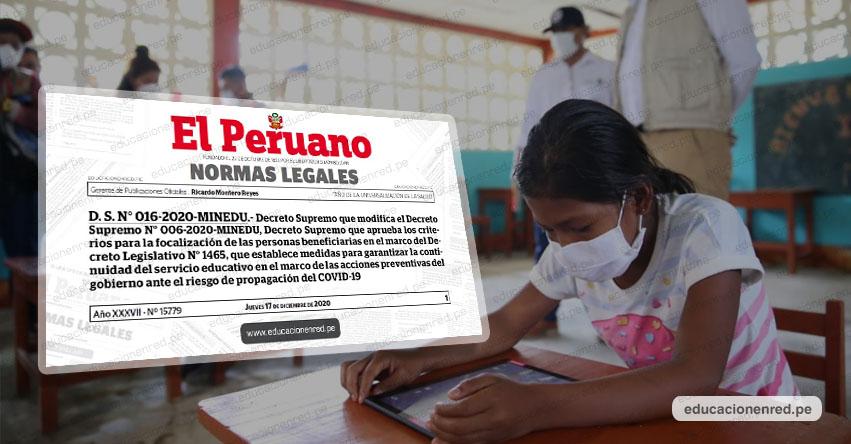 MINEDU modifica criterios para focalizar entrega de tablets a estudiantes de educación básica [D. S. N° 016-2020-MINEDU]