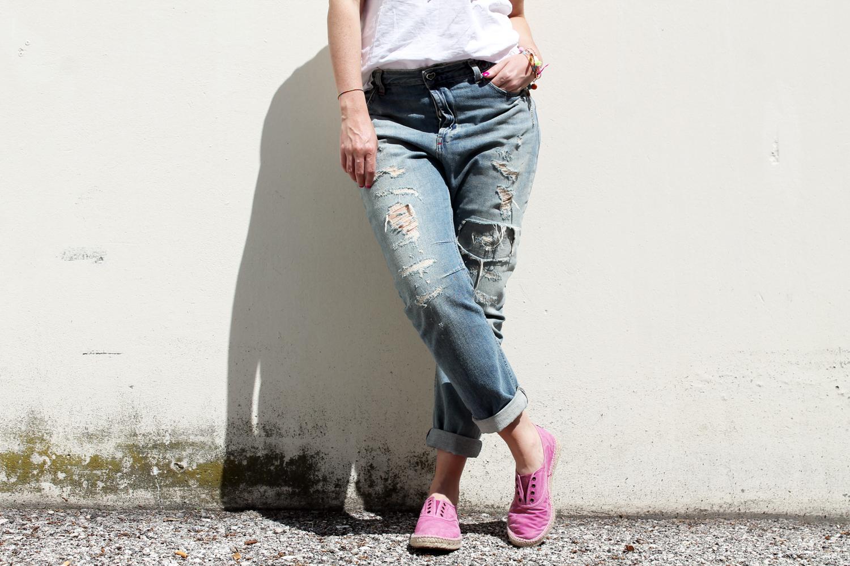 boyfriend jeans strappati twin set
