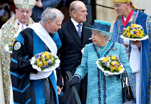 Queen Elizabeth II and Prince Philip, Duke Of Edinburgh attend the traditional Royal Maundy Service at Windsor Castle