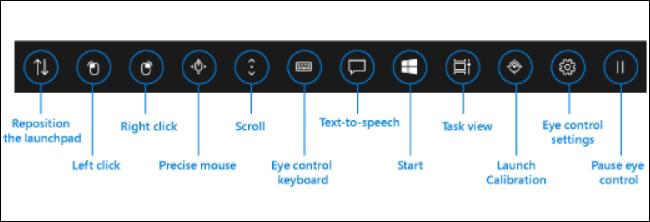 واجهة التحكم بالعين في Windows 10