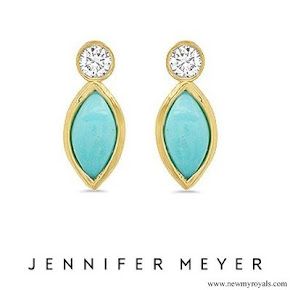 Meghan Markle wore Jennifer Meyer Diamond Bezel and Turquoise Marquise Stud Earrings