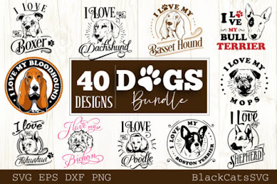 Dogs Bundle 40 Designs Graphic