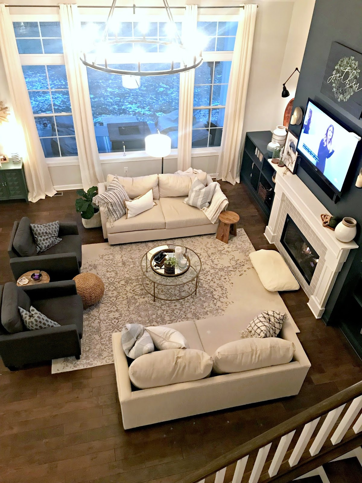 Large great room with symmetrical furniture set up