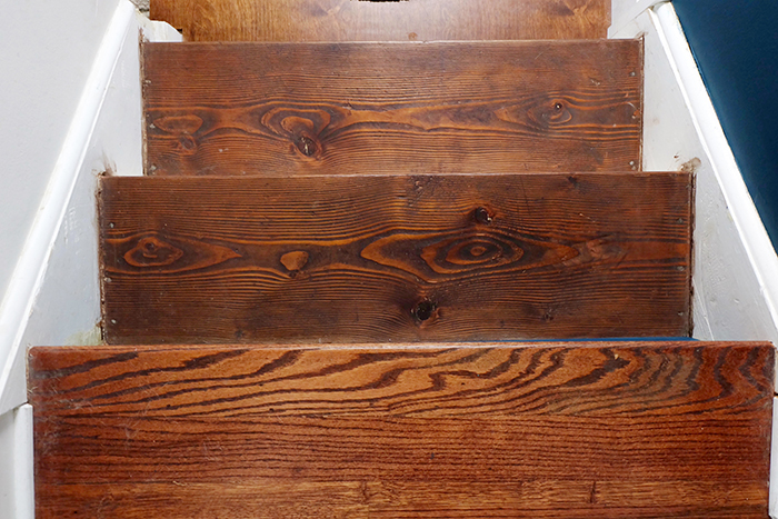finished stained pine wood stair treads