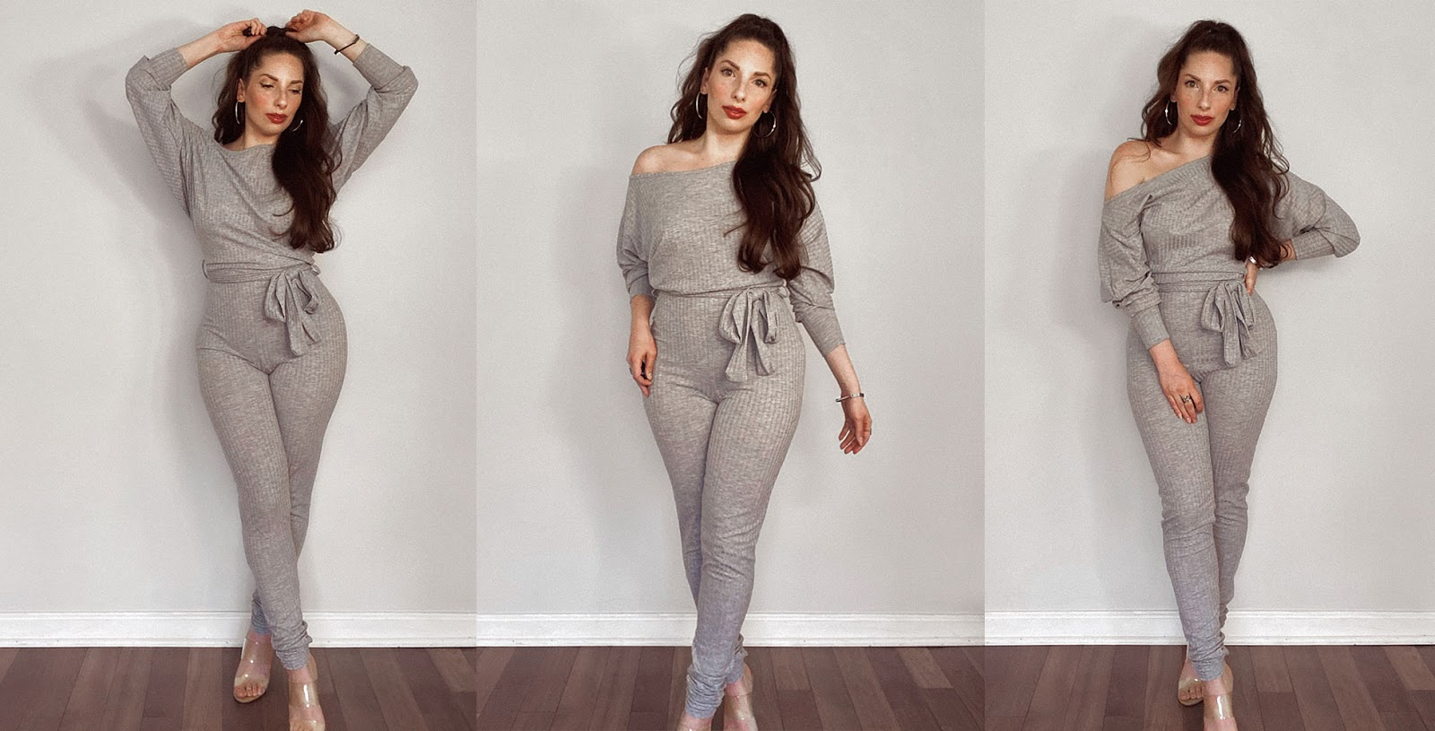 Grey Ribbed Off the Shoulder Loungewear Set