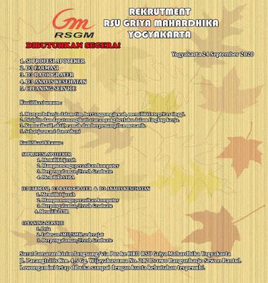 Loker RSU Griya Mahardika Yogyakarta Tahun 2020