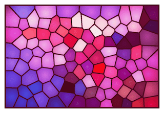 A stained glass image from a photo using Worley noise.