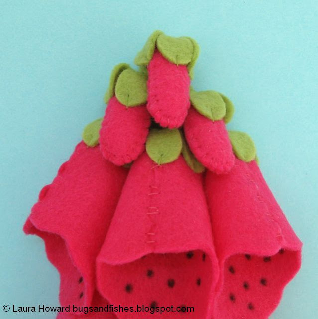 assembling the felt foxgloves