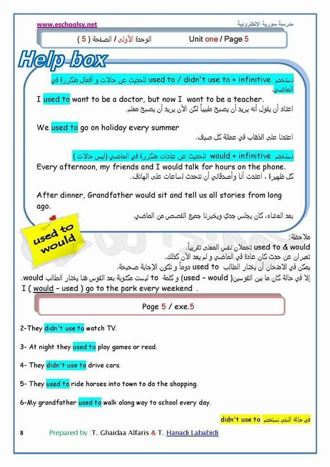 حل اسئلة كتاب الانجليزي للصف العاشر