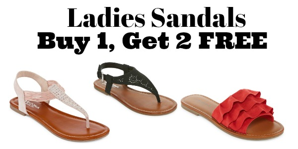 f7946aa5e7ba JCPenney  Buy 1 Get 2 FREE Women s Sandals!