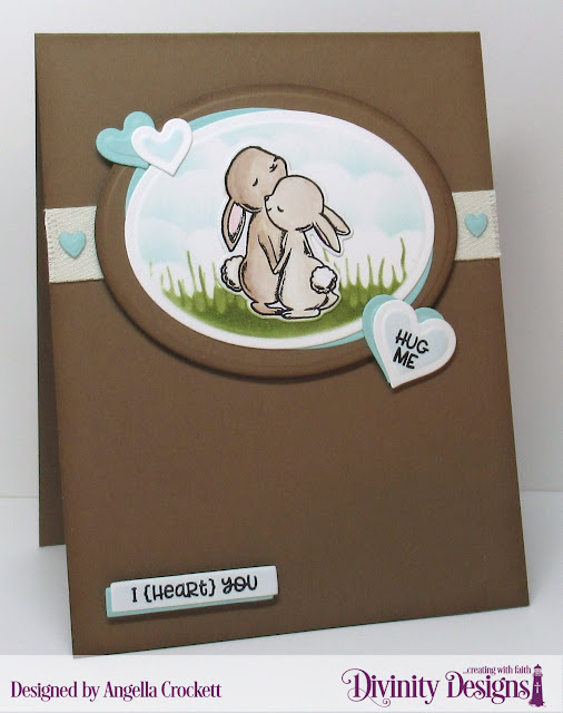Divinity Designs LLC: Somebunny Stamp/Die Duos, Custom Dies: Ovals, Sentiment Strips, Layering Hearts, Clouds and Raindrops: Card Designer Angie Crockett