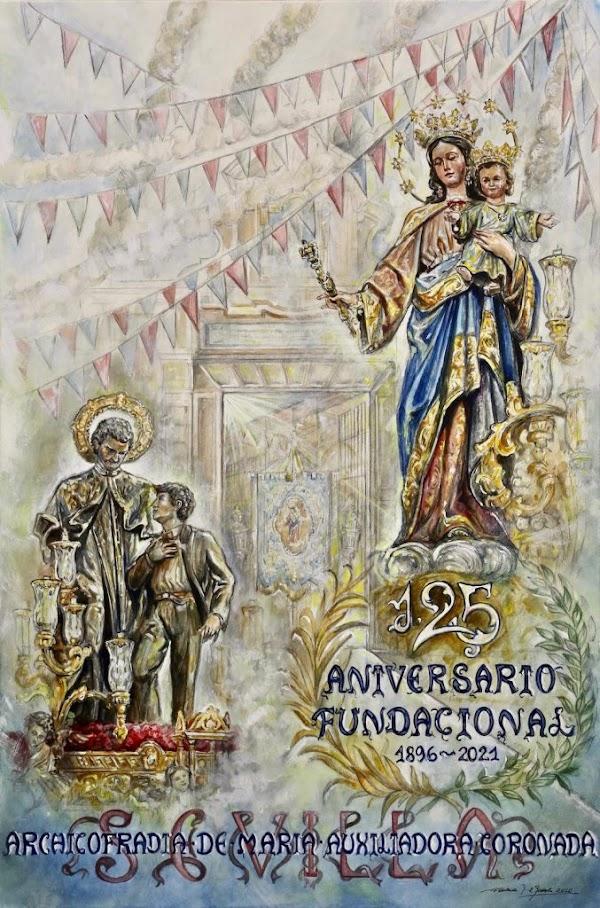 Fernando Aguado pone su firma en el cartel del 125 aniversario de la Archicofradía de María Auxiliadora