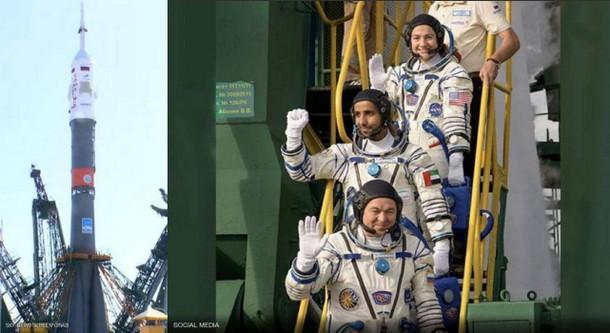 إنطلاق أول رائد فضاء عربي إلى محطة الفضاء الدولية