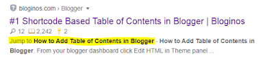 If you use Table of Contents (TOC) in your blog post, search engines provide more optimal information from your article to visitors what they looking for.