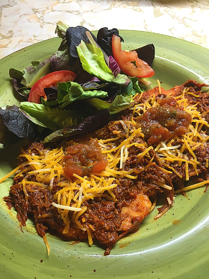 Sonoran-style Flat Enchiladas with salad