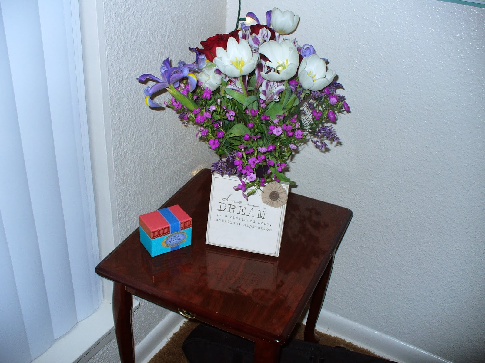 Bouquet and end table