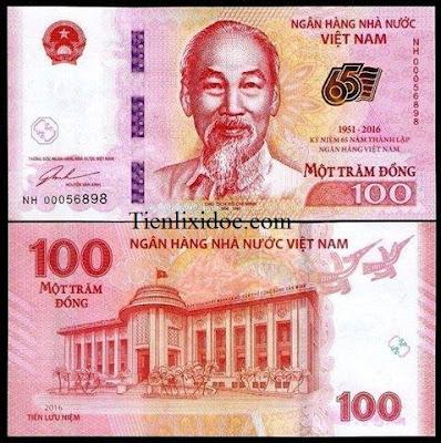 100đ Kỉ Niệm 65 Năm Thành Lập NHNN Việt Nam