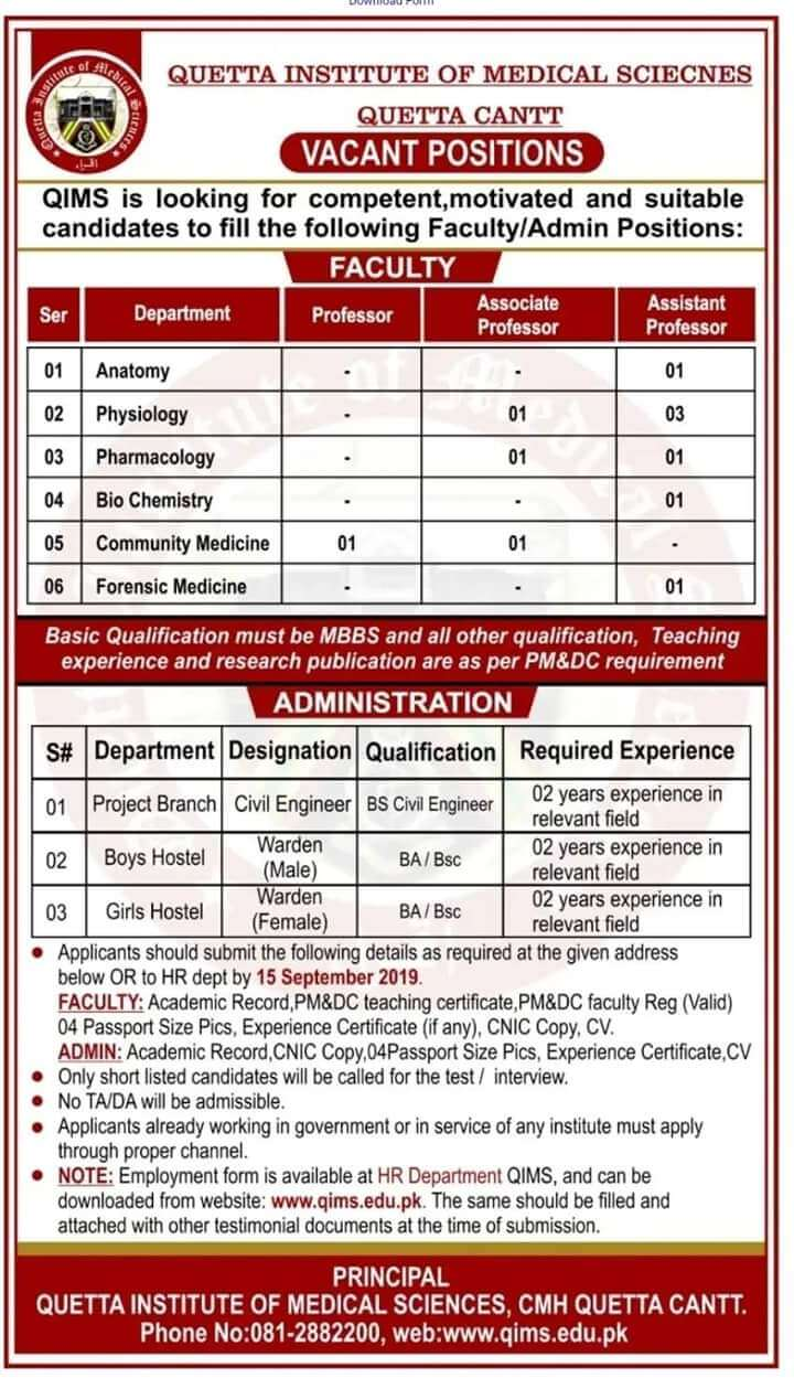Jobs In Quetta Institute Of Medical Sciences 2019