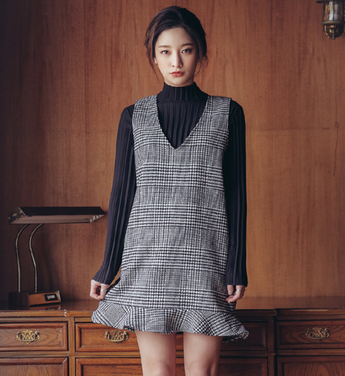 Glen Plaid Frilled Hem Dress