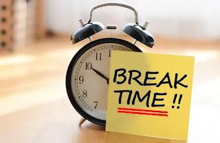 Break Time written beside a clock