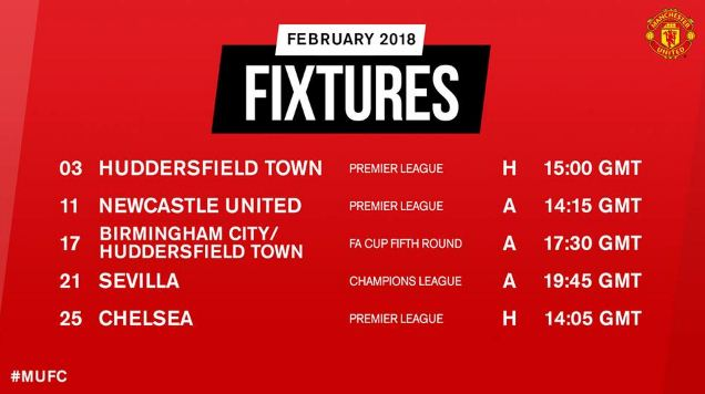 Jadwal Manchester United Februari 2018