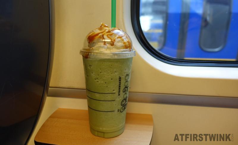 Starbucks Rotterdam Centraal matcha green tea frappuccino venti whip cream caramel sauce