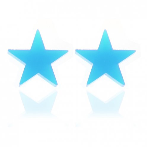 Candy Blue Acrylic Scene Kids Star Stud Earrings